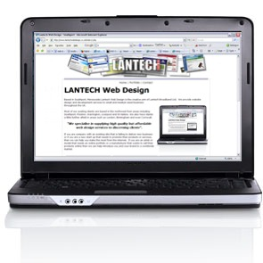 Lantech Site shown on a Laptop